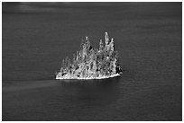 Phantom ship and blue waters. Crater Lake National Park ( black and white)