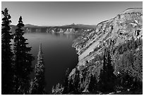 Cloudcap Bay and Pumice Castle. Crater Lake National Park ( black and white)