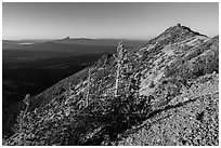 Mount Scott summit ridge, looking North. Crater Lake National Park ( black and white)