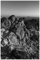 Mount Scott South summit ridge at sunset. Crater Lake National Park ( black and white)