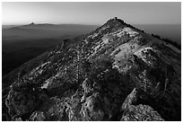 Mount Scott summit and fire lookout at dusk. Crater Lake National Park ( black and white)