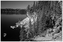 Cleetwood Cove trail and deck. Crater Lake National Park ( black and white)