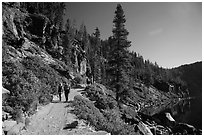 Hiking Cleetwood Cove trail. Crater Lake National Park ( black and white)