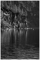 Cliffs, shadows, and reflections, Cleetwood Cove. Crater Lake National Park ( black and white)