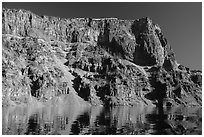 Tall cliffs of Llao Rock and Llao Bay. Crater Lake National Park ( black and white)