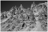 Tall volcanic dikes. Crater Lake National Park ( black and white)