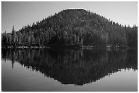 Wizard Island seen from water level. Crater Lake National Park ( black and white)
