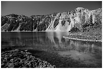 Emerald waters in Fumarole Bay, Wizard Island. Crater Lake National Park ( black and white)