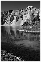 Watchman reflected in Fumarole Bay emerald waters, Wizard Island. Crater Lake National Park ( black and white)