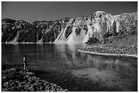 Visitor looking, Fumarole Bay, Wizard Island. Crater Lake National Park ( black and white)