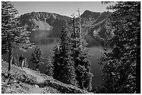 Hiker on Wizard Island. Crater Lake National Park ( black and white)