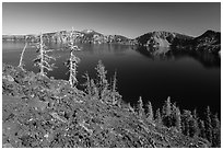 Red cinders and ash on Wizard Island. Crater Lake National Park ( black and white)