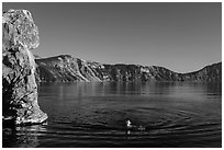 Man swimming in lake, Cleetwood Cove. Crater Lake National Park ( black and white)