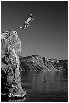 Cliff jumping, Cleetwood Cove. Crater Lake National Park ( black and white)