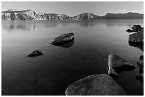 Lakeshore in late afternoon, Cleetwood Cove. Crater Lake National Park ( black and white)