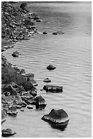 Rocks and evening reflections, Cleetwood Cove. Crater Lake National Park ( black and white)