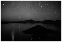 Stars and reflections over lake. Crater Lake National Park ( black and white)