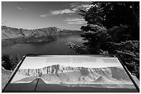 Interpretive sign, Wizard Island and Llao peak. Crater Lake National Park ( black and white)