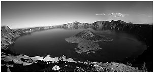 Crater Lake and Wizard Island. Crater Lake National Park (Panoramic black and white)