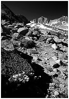 Mountains near Sawmill Pass, morning. Kings Canyon National Park ( black and white)