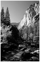 Kings River and cliffs in Cedar Grove. Kings Canyon National Park ( black and white)