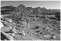 Alpine meadow, lake, and mountains, Dusy Basin. Kings Canyon National Park ( black and white)
