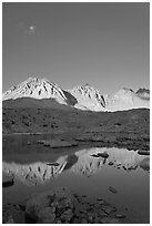 Palissades chain reflected in lake, Dusy Basin. Kings Canyon National Park, California, USA. (black and white)