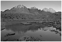 Palissades reflected in lake at sunset, Dusy Basin. Kings Canyon National Park, California, USA. (black and white)