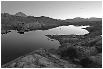 Lake and mountains at dusk, Dusy Basin. Kings Canyon National Park ( black and white)