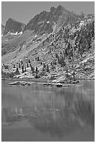 Mt Giraud and lake, Lower Dusy Basin. Kings Canyon National Park ( black and white)