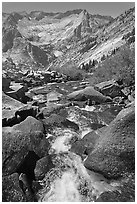 Stream plunges towards Le Conte Canyon. Kings Canyon National Park ( black and white)
