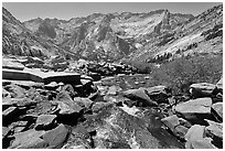 Stream plunging towards Le Conte Canyon. Kings Canyon National Park ( black and white)