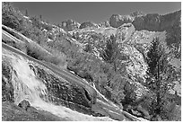 Waterfall, and mountains, Le Conte Canyon. Kings Canyon National Park ( black and white)