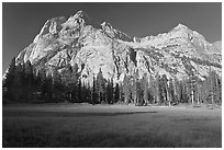 Langille Peak from Big Pete Meadow, morning, Le Conte Canyon. Kings Canyon National Park, California, USA. (black and white)
