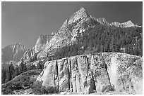 Granite block and peak, Le Conte Canyon. Kings Canyon National Park, California, USA. (black and white)