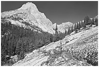 Granite slab and Langille Peak, Le Conte Canyon. Kings Canyon National Park, California, USA. (black and white)