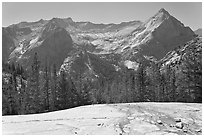 Granite slab, Langille Peak and the Citadel above Le Conte Canyon. Kings Canyon National Park, California, USA. (black and white)