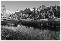 Mountains reflected in calm creek, late afternoon, Lower Dusy basin. Kings Canyon National Park ( black and white)