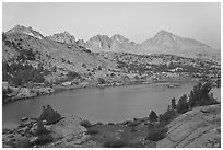 Columbine Peak and Palissades above lake at dusk, Lower Dusy basin. Kings Canyon National Park ( black and white)