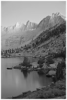Lake and Mt Giraud at dusk, Lower Dusy basin. Kings Canyon National Park ( black and white)
