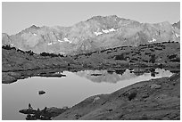 Mountains and lake, upper Dusy basin, sunrise. Kings Canyon National Park ( black and white)
