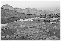 Dusy Basin at dawn. Kings Canyon National Park ( black and white)