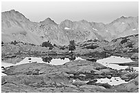 Alpine lakes and mountain range at dawn, Dusy Basin. Kings Canyon National Park ( black and white)
