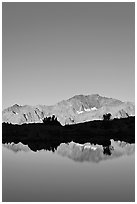 Peak reflections, early morning, Dusy Basin. Kings Canyon National Park ( black and white)