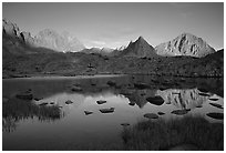 Mt Thunderbolt, Isoceles Peak, and Palissades reflected in a lake in Dusy Basin, sunset. Kings Canyon National Park ( black and white)