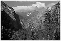 U shape of Kings Canyon seen from Canyon Viewpoint. Kings Canyon National Park ( black and white)