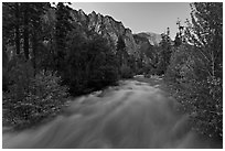 South Forks of the Kings River flowing at dusk. Kings Canyon National Park ( black and white)