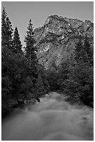 Roaring River flowing at dusk. Kings Canyon National Park ( black and white)