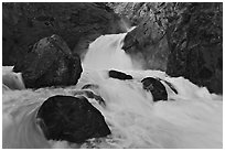 Roaring River Falls in spring. Kings Canyon National Park ( black and white)