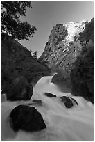 Roaring River Falls below high granite cliff. Kings Canyon National Park ( black and white)